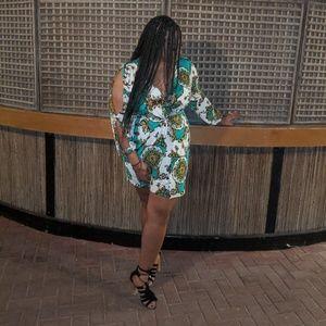 Plus Size Baroque Twist-Front Mini Dress
